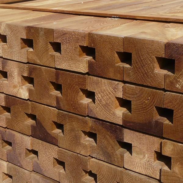 Poteau intermédiaire clôture cl4 marron 90 x 90 x 2400 mm